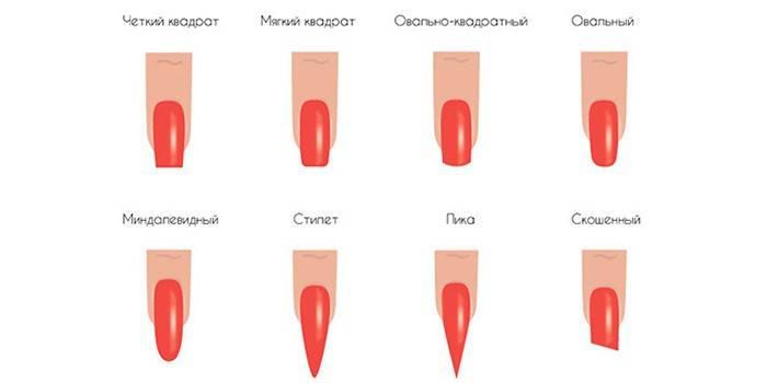 Форми нігтів: як правильно підпиляти нігтьову пластину, красиві варіанти на вибір з фото