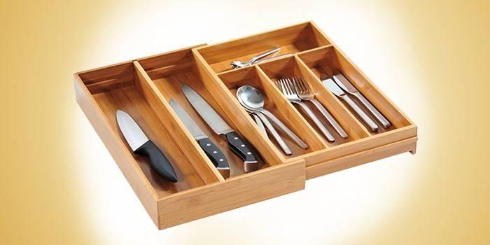 Лоток для столових приладів - огляд дерев'яних, пластикових і металевих з описом і цінами