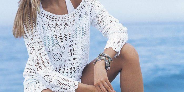 Пляжна туніка гачком - як в'язати річну кофту для жінки, схема і опис моделі