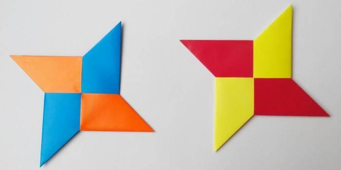 Як зробити з паперу сюрікени - схеми орігамі метальної ніндзя зірки