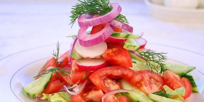 Овочевий салат - прості і смачні рецепти приготування легких страв з овочів з фото