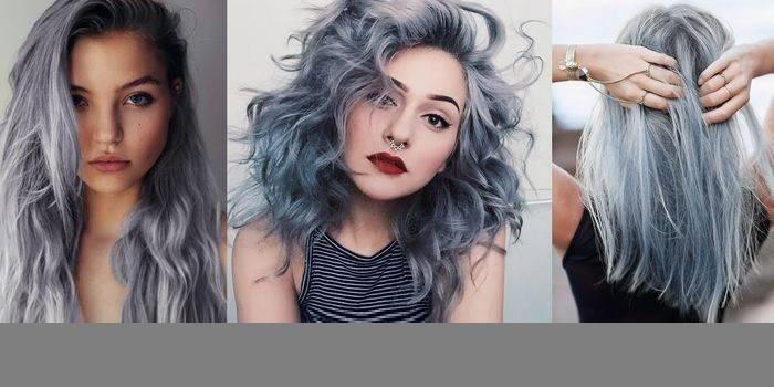 Сірий колір волосся: відтінки фарб з фото
