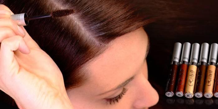 Туш для волосся для зафарбовування сивини і коренів